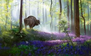 Картинка лес, природа, дух, фэнтези, арт, бизон, Alex Shiga, Bison's daydream