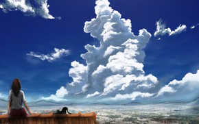 Картинка крыша, кошка, небо, девушка