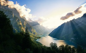 Картинка горы, озеро, forest, Switzerland, lake, Mounts, Klontalersee