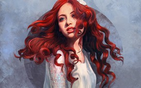 Картинка Девушка, Рисунок, Цветок, Girl, Арт, Art, Рыжая, Flower, Beauty, Красивая, Redhead, Рыжеволосая, Рыжие волосы, Artist, …