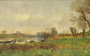 Картинка пейзаж, лодка, 1881, Пьер Эммануэль Дамуа, The Isle of Saint-Ouen, Pierre-Emmanuel Damoye