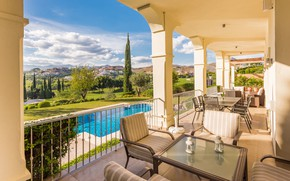Картинка мебель, вилла, вид, интерьер, бассейн, терраса, столовая, dining terrace, Villa Roma, Luxury Villa in Los …