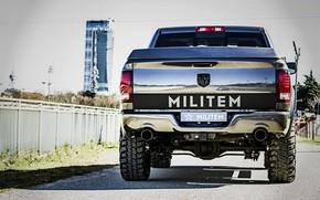 Картинка Dodge, вид сзади, пикап, Ram, 2017, 1500 RX Crew Cab, Militem