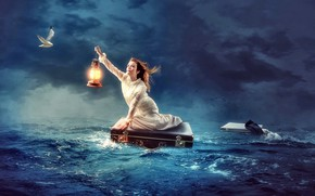 Картинка крушение, Море, чайка, спасение.