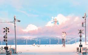 Картинка вода, девушка, шарики, кошки, парень, железнодорожный переезд, by pinattsu