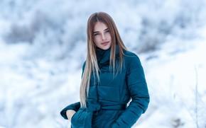 Картинка зима, взгляд, снег, поза, волосы, Девушка, Сергей Сорокин, Люба Иванова