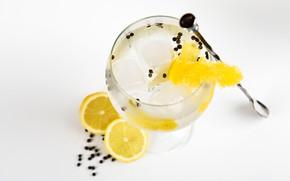 Картинка лимон, лёд, коктейль, напиток