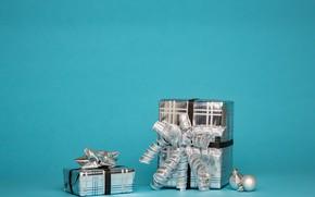 Картинка зима, праздник, Рождество, Новый год, коробки, новогодние украшения, новогодни декорации