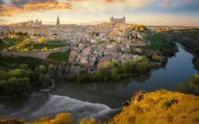 Обои Tagus River, река, Река Тахо, здания, Толедо, Toledo, Spain, панорама, дома, Испания