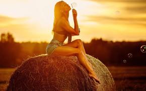 Картинка поле, лето, девушка, поза, настроение, ноги, шорты, мыльные пузыри, сено, кипа, Светлана Шевцова, Алексей Петров