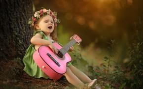 Картинка гитара, девочка, венок, Larisa Korsikova, певунья