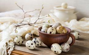 Картинка ветки, стол, доски, еда, яйца, весна, Пасха, чашка, ткань, натюрморт, светлый фон, композиция, кастрюлька, перепелиные