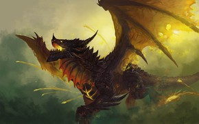 Картинка Дракон, Игра, Крылья, World of Warcraft, WOW, Fantasy, Арт, Art, Фантастика, Смертокрыл, WarCraft, Deathwing, Characters, …