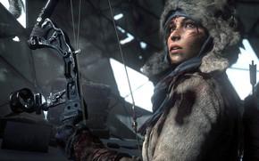 Обои Девушка, Лицо, Кровь, Лук, Колчан, Square Enix, Стрелы, Lara Croft, Crystal Dynamics, Расхитительница Гробниц, Rise ...