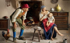 Картинка дом, люди, женщина, семья, мужчина, дедушка, мама, ребёнок, очаг, комод, младенец, петух, мать, кормление, куры, …