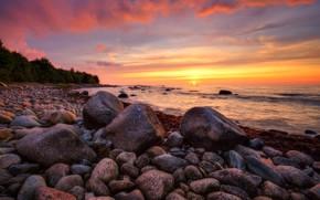Картинка море, закат, камни, побережье