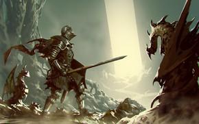 Картинка Дракон, Доспехи, Меч, Воин, Dragon, Art, Драконы, Рыцарь, Фантастика, Dark Souls, Knight, ömer tunç, by ...