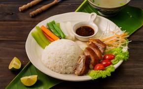Картинка мясо, рис, овощи, помидоры, утка, соус