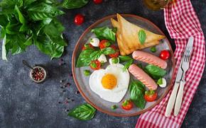 Картинка еда, завтрак, сыр, хлеб, специи, тосты, базилик, помидоры-черри, Timolina