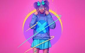Картинка Цвет, Девушка, Очки, Стиль, Азиатка, Fantasy, Style, Color, Фантастика, Панк, Fiction, Illustration, Sci-Fi, Киберпанк, Science …