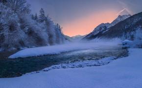 Картинка зима, лес, снег, деревья, горы, река, Австрия, Альпы, Геннадий Финенко