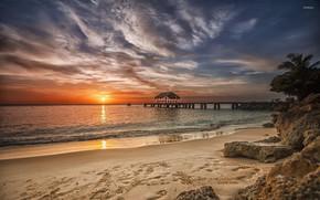 Картинка пляж, закат, океан, вечер, причал, Карибы, Сaribbean beach, amazing sunset