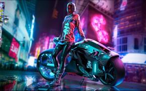 Картинка Девушка, Город, Неон, Мотоцикл, Арт, Киберпанк, Cyberpunk