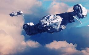 Картинка Облака, Самолет, Самолеты, Полет, Арт, Art, Авиация, Фантастика, Боевая машина, Самолёт, Вооружение, Weapons, GrahamTG, Cruise, …