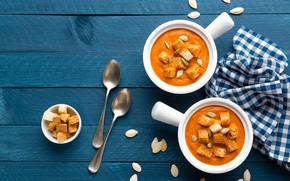 Обои еда, хлеб, тыква, wood, гренки, тыквенный суп