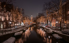 Картинка отражение, транспорт, фонари, канал, Amsterdam - My Home