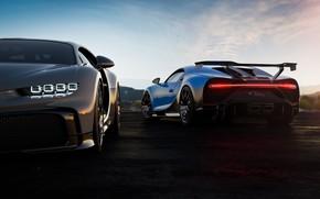 Картинка вечер, Bugatti, пара, гиперкар, Chiron, 2020, Pur Sport