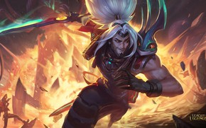 Картинка взрыв, меч, парень, League of Legends