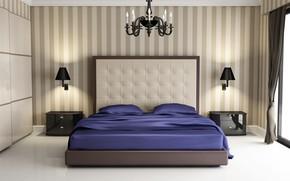 Картинка дизайн, кровать, спальня