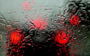 Картинка машина, стекло, капли, дождь, фары, размытость