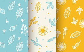 Картинка желтый, голубой, текстура, Flowers, Leaves, Patterns