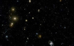 Картинка Constellation Fornax, The Fornax Galaxy Cluster, VLT Survey Telescope, NGC 1399, NGC 1365, Local Group …
