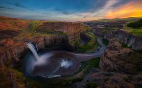 Картинка горы, река, скалы, водопад, США, каньоны, Гранд-каньон