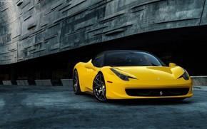 Картинка ferrari, sportcar, yellow, 458 Italia