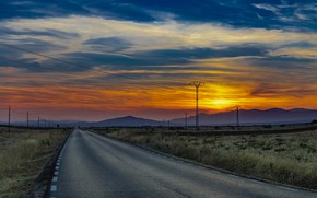 Картинка дорога, закат, лэп