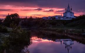 Картинка пейзаж, природа, город, отражение, река, рассвет, монастырь, берега, Суздаль, Андрей Чиж, Каменка