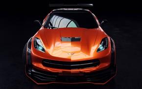 Картинка Авто, Corvette, Машина, Оранжевый, Car, Рендеринг, Stingray, Corvette Stingray, Передок, Спорткар, Transport & Vehicles, Chevrolet …