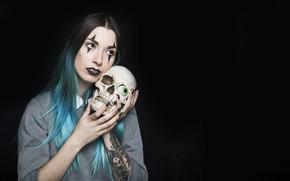 Обои девушка, глаз, череп, тату, Halloween, татуировки