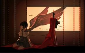 Картинка комната, крылья, сумрак, девочка