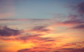Картинка небо, облака, закат, фон, розовый, colorful, sky, sunset, pink, beautiful