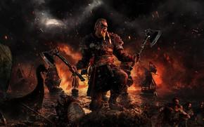 Картинка axe, fire, skull, flame, game, sea, war, man, hero, viking, shield, warrior, strike, attack, strong, …