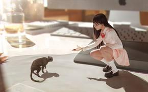Картинка аниме, арт, девочка, неко, забота, кошечка, Rui Li, In my dreams you're still with me