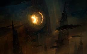 Картинка Город, City, Fantasy, Арт, Art, Фантастика, Concept Art, Транспорт, Science Fiction, Environments, Daniel Liang, by …