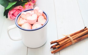 Картинка cup, букет, чашка, hot chocolate, hearts, сердечки, зефирки, розы, romantic, pink, valentine's day, roses, wood, …