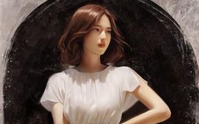 Картинка девушка, азиатка, живопись