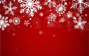 Картинка зима, снег, снежинки, красный, фон, red, Christmas, winter, background, snow, snowflakes